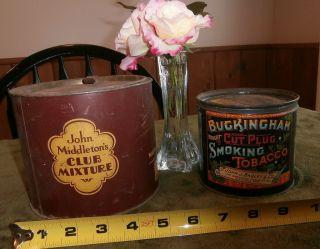 2 Antique Smoking Tobacco Tins JOHN MIDDLETON BUCKINGHAM CUT PLUG Both