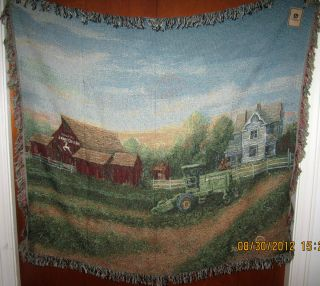 White Farm House John Deere Tractor Woven Tapestry Afghan Throw