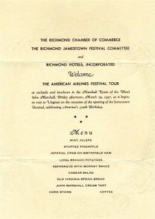 Hotel John Marshall Menu Richmond Virginia Jamestown Festival 1957