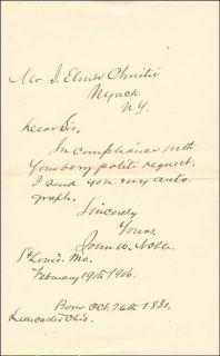 John w Noble Autograph Letter Signed 02 19 1906