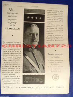 General John J Pershing Cadillac Cars XRARE Antique French Ad 1929
