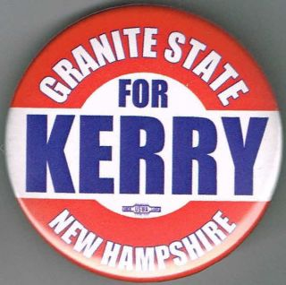2004 NEW HAMPSHIRE GRANITE STATE FOR JOHN KERRY PIN PINBACK BUTTON B604