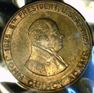 John Quincy Adams Mint Version 2 Commemorative Brass Medal Token Coin