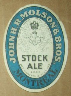 Vintage John H R Molson Bros Stock Ale Montreal 12oz Beer Bottle Label 1940'S