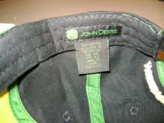 John Deere Cap Hat Licensed Black Snapback Flat Bill