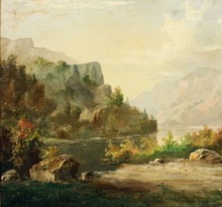 MAJOR JOHN JOHNSTON SIGNED LISTED AMERICAN HUDSON RIVER SCHOOL BOAT OIL PAINTING