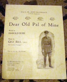 Vintage Sheet Music Dear Old PAL of Mine Sung by Mr John McCormack 1918 WWI