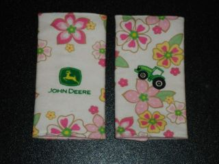 JOHN DEERE w FLOWERS on WHITE Baby Car Seat Strap Covers
