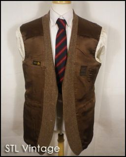 vtg 70s JOHN WEITZ brown WOOL TWEED HERRINGBONE SPORTCOAT BLAZER jacket SZ 44 R