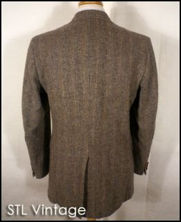 vtg 70s JOHN ALEXANDER gray WOOL TWEED HERRINGBONE SPORT COAT BLAZER riding 44 R