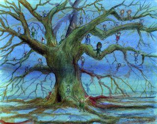 The Fairy Tree Fairies Blue Moody Signed Print by John Randall York
