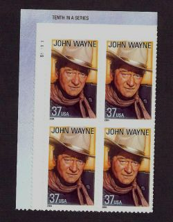 3876 Legend of Hollywood John Wayne Plate Block Mint NH