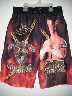 WWE John Cena Swim Trunks Chain Gang Soldier Bathing Suit Boy's Size L Large 14