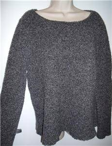 Eileen Fisher wool cashmere blend boucle gray sweater top womens XL