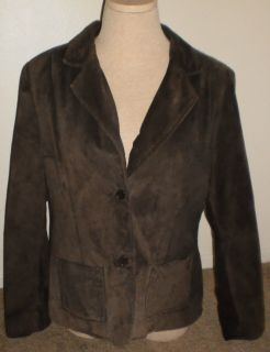 John Paul Richard Uniform Petite Genuine Leather Jacket Size 14 Dark Brown
