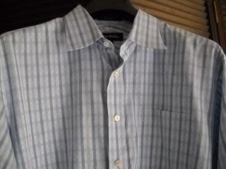 John w  Blue Plaid Egyptian Cotton Shirt 17 5 35