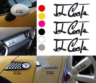 3pcs John Cooper Signature Mini s One JCW Works Vinyl Decal Sticker Black 3""