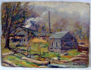 Antique John W Bentley Sawmill at Shady NY O C Landscape Painting