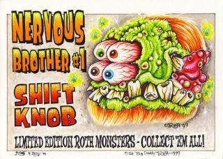 JOHNNY ACE Original RAT FINK SHIFT KNOB CONCEPT ART Set MONSTER Big Daddy Roth
