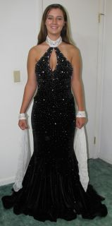 Sz 6 Black White Johnathan Kayne Beaded Pageant Gown Prom Dress Mermaid Train