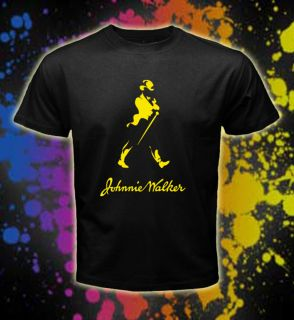 Johnnie Walker Yellow Logos Men Black T shirt tee size S XXL