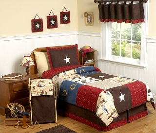 JOJO DESIGNS WILD WESTERN HORSE COW BOY KIDS TEEN FULL QUEEN SIZED BEDDING SET