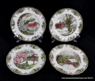 "Lot of 4 Large Dinner Plates Johnson Bros Friendly Village 10 5"" Mill Autumn"
