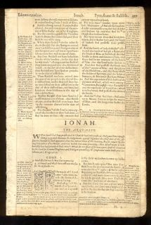 1569 Geneva 2nd Quarto Red Ruled Bible Leaves Complete Book of Jonah