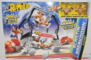 WWE Wrestling Rumblers Blastin Breakdown Playset John Cena Albert Del Rio Figure