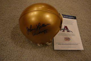 Johnny Lattner Signed Notre Dame Irish Mini Helmet AAA Heisman 53 Autographed