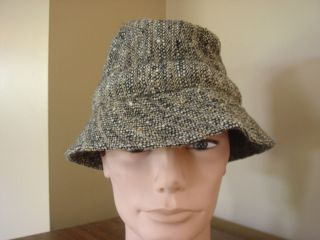 VTG JONATHAN RICHARD mens bucket hat s7 wool IRISH TWEED blk brn crusher cap EUC