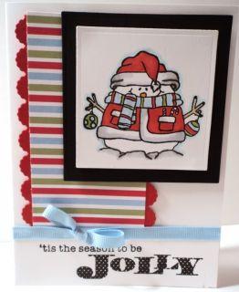 JOLLY CHRISTMAS SNOWMAN Winter Holiday Card KIT
