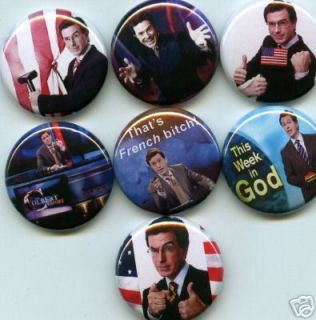 Stephen Colbert Report 7 Pins Buttons Badge Jon Stewart