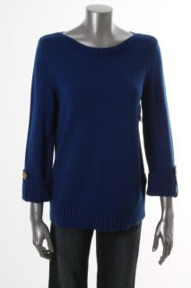 Jones New York NEW Blue Cotton Boat Neck Adjustable Sleeve Pullover Sweater S