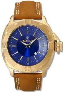 NEW Timberland Mens Classic Jonesboro Gold Blue Watch Leather Strap QT7132501