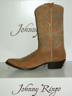 $211 Women's 6 5 Med Johnny Ringo Suede Cowgirl Boots JRL010