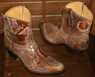 New Womens Johnny Ringo Fancy Distressed Brown Western Snip Toe Cowboy Boots 8 5