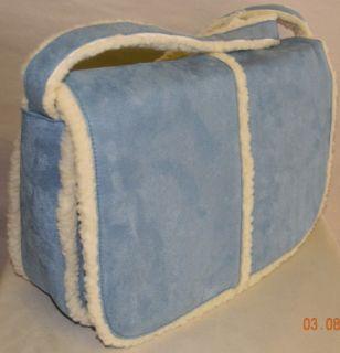 NEW Large Blue Suede Sherpa Crossbody Shoulder Bag Handbag Purse NWT
