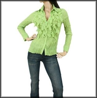Kiwi Green Long Sleeve Blouse Seessel Design in Italy Top Misses s M L