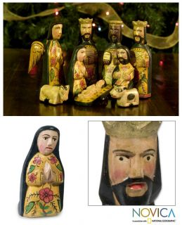 Faithful Hand Carved Wood NATIVITY SCENE Folk Art Sculptures NOVICA Guatemala