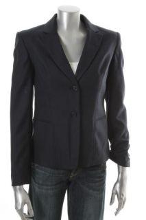 Jones New York NEW Navy Stretch Long Sleeve Chintezed Two Button Blazer Jacket 8