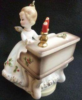 JOSEF Originals CHRISTMAS Angel Girl Figurine at Piano MUSIC BOX SILENT NIGHT