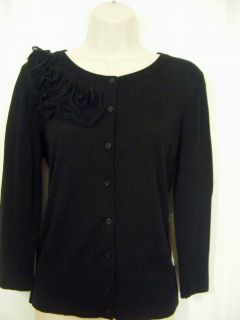 Jones New York SPORT Cardigan Sweater NWT Womens 8 10 Medium Ruffles Black 89