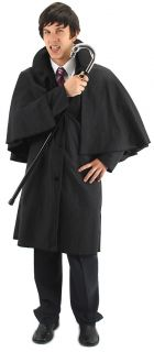 Black Inverness Cloak Cape Steampunk Victorian Jack The Ripper Barnabas Collins