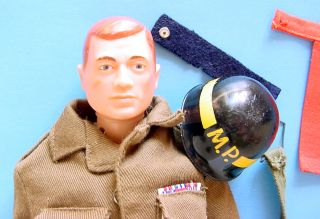 1960s Gi Joe Airborne MP w Striped Helmet Snap Armband Military Police Set