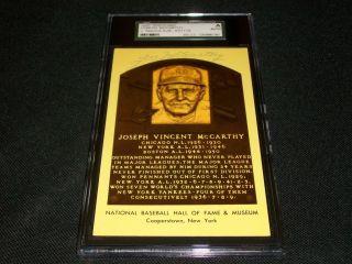 New York Yankees Joe McCarthy Auto Signed Yellow HOF Postcard Plaque JSA SGC N