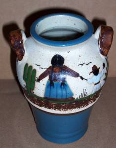 Signed Tonala Mexico Native Latino Pottery Art Vase Jug