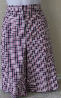 Jones New York Sport Stretch Checks Black White Pink Shorts Size 12 16
