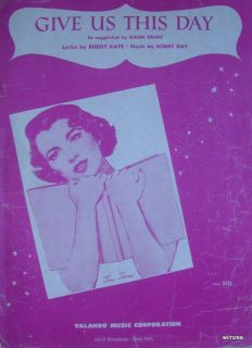 Sheet Music Give US This Day Joni James 1956 Piano Vocal