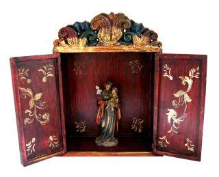 St Joseph Child Big Retablo Wood Box Shrine w Figure Peru Santos Folk Art